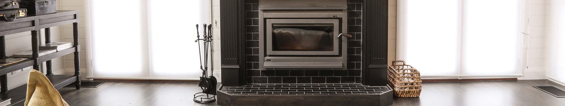 Striking black fireplace