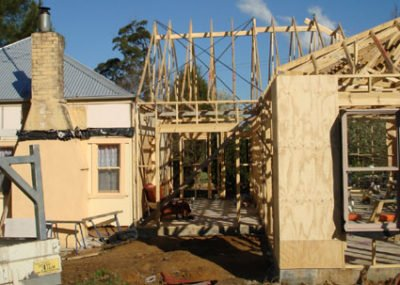Extension frame in progress