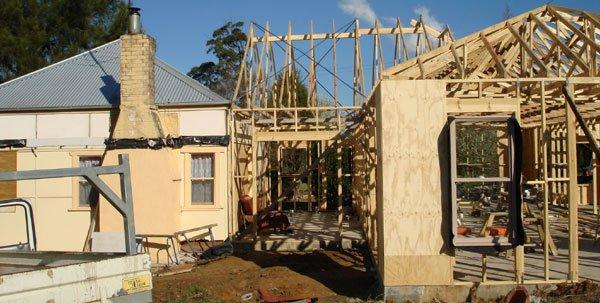 Extension frame in progress